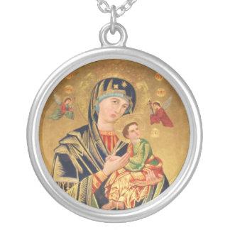 ロシア正教アイコン-聖母マリアおよびベビー シルバープレートネックレス