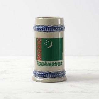 ロシア語の名前のタキマンニスタンの旗 ビールジョッキ