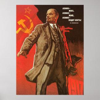 ロシア革命からのレーニンレトロのポスター ポスター