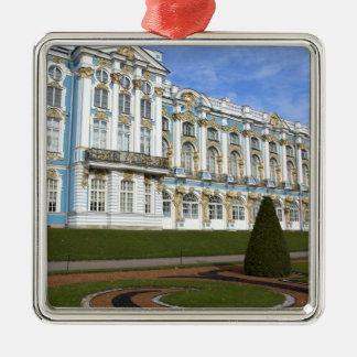 ロシア、セント・ピーターズバーグ、Pushkin、キャサリン シルバーカラー正方形オーナメント