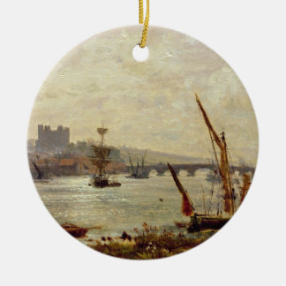ロチェスターのカテドラルおよび城、c.1820-30 (油 セラミックオーナメント