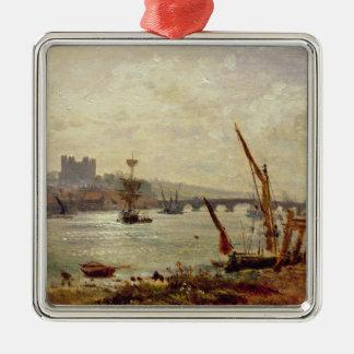 ロチェスターのカテドラルおよび城、c.1820-30 (油 メタルオーナメント