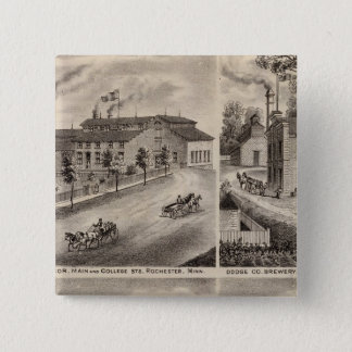 ロチェスター、ミネソタの住宅そしてビール醸造所 5.1CM 正方形バッジ