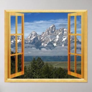 ロッキー山脈の雪の上の窓の眺め ポスター