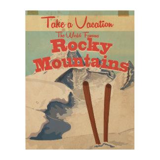 ロッキー山脈、米国のヴィンテージ旅行ポスター ウッドウォールアート