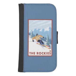 ロッキー山脈- Downhhillの雪のスキーヤー ウォレットケース