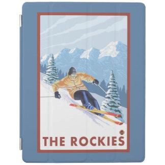 ロッキー山脈- Downhhillの雪のスキーヤー iPadスマートカバー