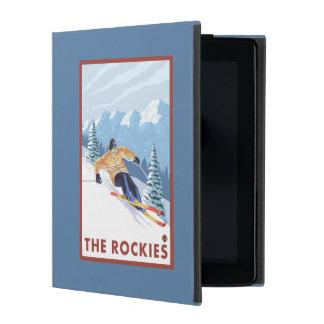 ロッキー山脈- Downhhillの雪のスキーヤー iPad ケース