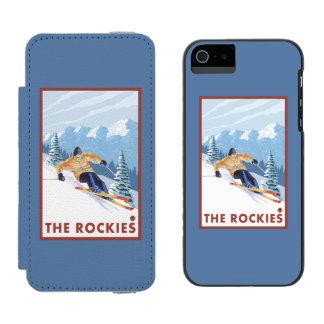 ロッキー山脈- Downhhillの雪のスキーヤー iPhone SE/5/5sウォレットケース