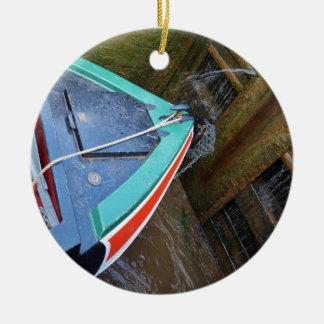 ロックの運河ボート セラミックオーナメント