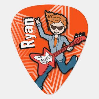 ロックスターのオレンジギターの一突きと示される男の子ID ギターピック