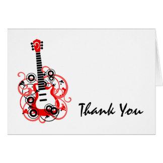 ロックスターのギターの赤い黒は感謝していしています カード