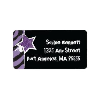 ロックスターの紫色の星のラベルのテンプレートのようなパーティ ラベル