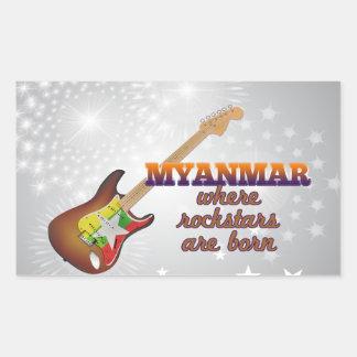 ロックスターはミャンマーで生まれます 長方形シール