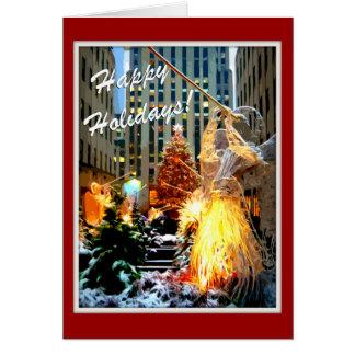 ロックフェラーの中心のクリスマスツリーの挨拶状 カード