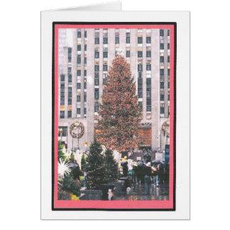 ロックフェラーの広場のクリスマスツリー カード