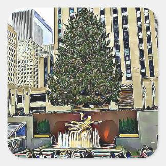 ロックフェラーの木のスケートリンクのクリスマスのステッカー スクエアシール