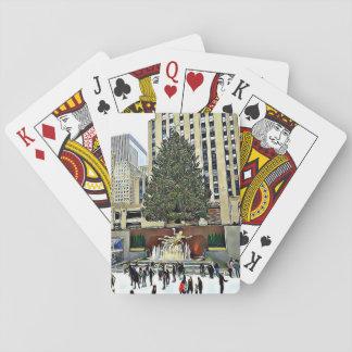 ロックフェラーの木のスケートリンクのクリスマスカード トランプ