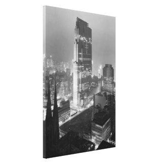 ロックフェラーCenter (1933年)のヴィンテージの写真 キャンバスプリント