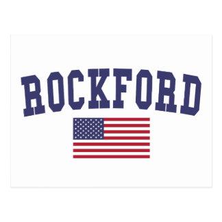ロックフォード米国の旗 ポストカード
