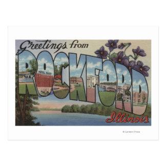 ロックフォード、イリノイ-大きい手紙場面 ポストカード