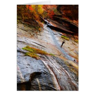 ロック・クライマー、狭いところ、Zion NPの中ブランク カード