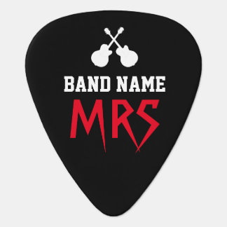 ロック・バンドの名前及びギタリストのイニシャルの黒 ギターピック