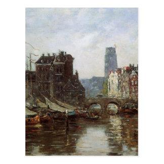 ロッテルダムのEugene Boudin著Le Pont deの取引所 ポストカード