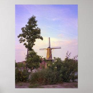 ロッテルダムのSchiedamの風車 ポスター