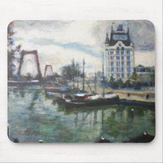 ロッテルダムWitteHuisのホワイトハウスの都市景観の絵画 マウスパッド