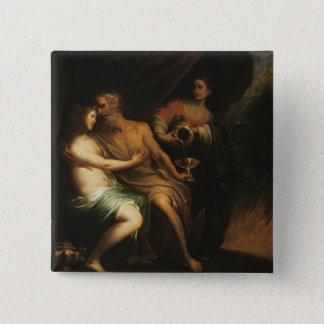 ロットおよび彼の娘(キャンバスの油) 3 5.1CM 正方形バッジ