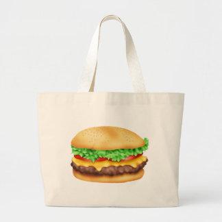 ロットが付いているハンバーガー! ラージトートバッグ