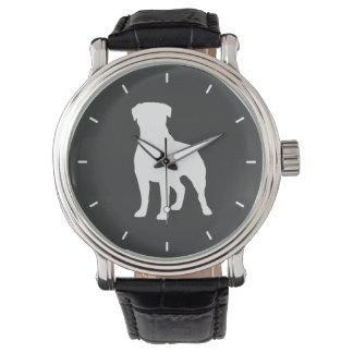 ロットワイラーのシルエット 腕時計