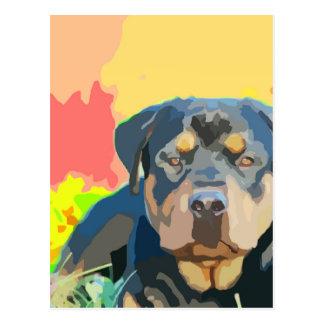 ロットワイラーのポートレートの絵画 ポストカード