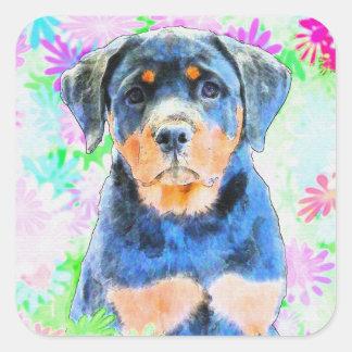 ロットワイラーの子犬 スクエアシール