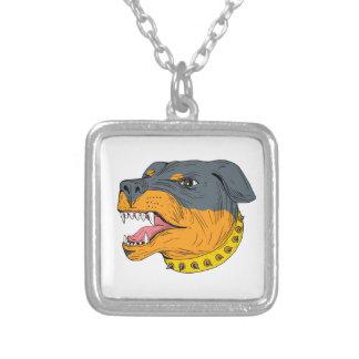 ロットワイラーの番犬の頭部の積極的なスケッチ シルバープレートネックレス