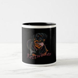 ロットワイラーの黒いマグ ツートーンマグカップ