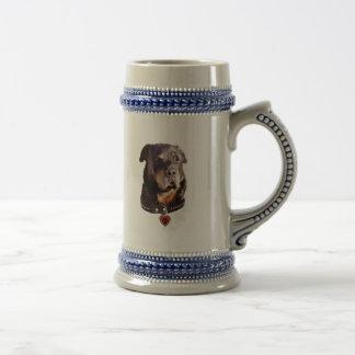 ロットワイラー犬のハートPawprint ビールジョッキ