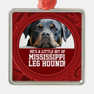 ロットワイラー犬のミシシッピーの足の猟犬ペット写真 メタルオーナメント