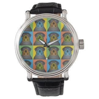 ロットワイラー犬の漫画の破裂音芸術 腕時計