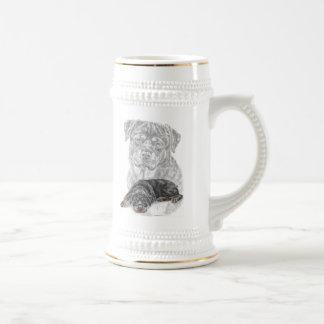 ロットワイラー犬の芸術 ビールジョッキ