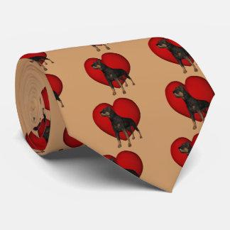 ロットワイラー犬の赤いハート ネクタイ