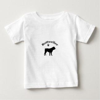ロットワイラー犬の黒のシルエットの子供、Tシャツ ベビーTシャツ