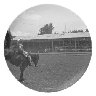 ロデオのカウボーイの乗馬馬、(B&W) プレート