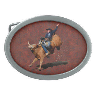 ロデオのカウボーイのBull乗馬の西部のテーマのバックル 卵形バックル