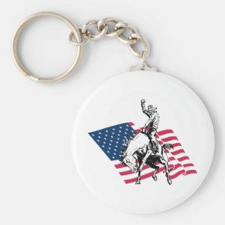 ロデオ米国-アメリカ、カウボーイの馬および旗 キーホルダー