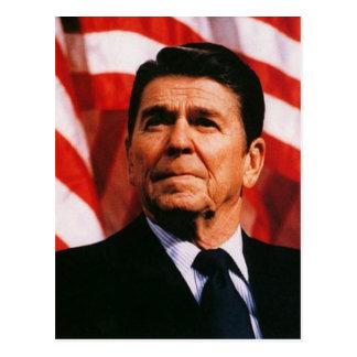 ロナルド・レーガンの米国旗のポートレート ポストカード