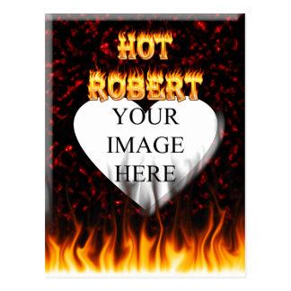 ロバートの熱い火および炎の赤の大理石 ポストカード