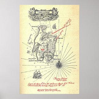 ロバート・ルイス・スティーヴンソンの宝物島の地図 ポスター