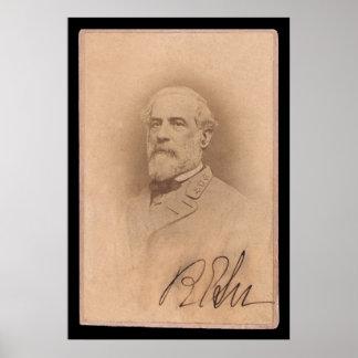 ロバートE.リーSignedカード1860年 ポスター